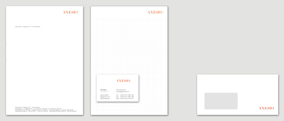 axesio, Corporate Design, Briefpapier, Visitenkarten
